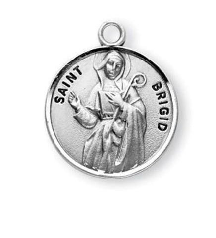 Saint Brigid Round Sterling Silver Medal On Chain Made In USA