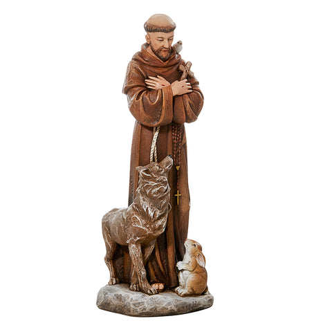 Saint Francis With Wolf And Rabbit Statue Garden Or Home