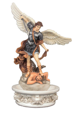 Saint Michael Holy Water Font For Table Or Wall Hand Painted Veronese Collection