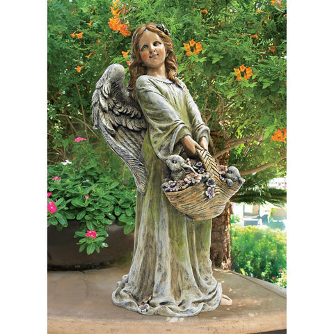 Joyful Garden Angel Holding Flowers Statue Over 2 Feet Tall