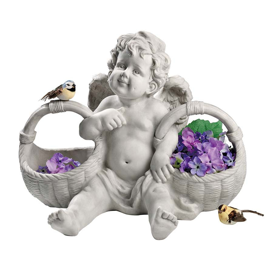 Garden Cherub With Two Baskets
