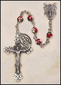 Red Cloisonné Rosary with Miraculous Dangle