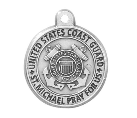 Coast Guard Saint Michael Medal On 20 Inch Chain