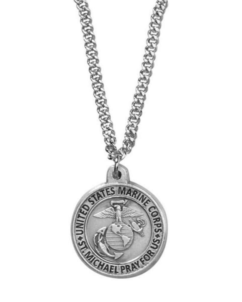 Marine Corps Emblem Saint Michael Medal On 20 Inch Chain