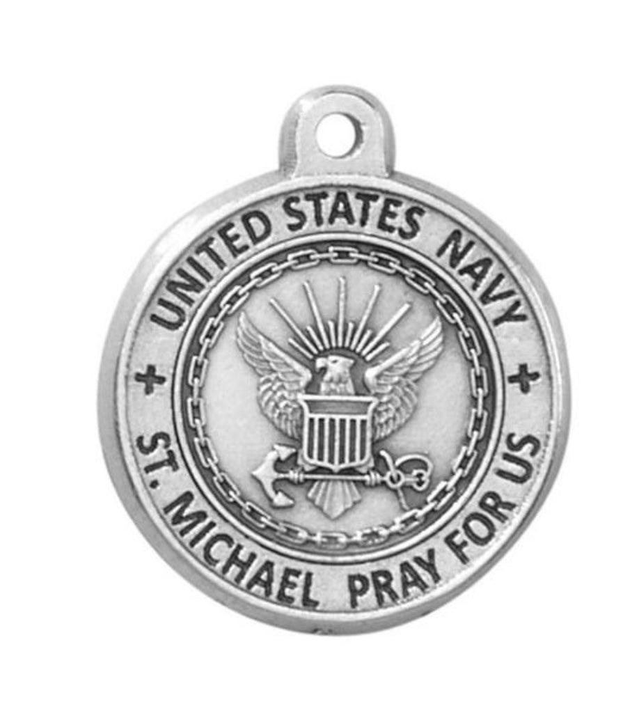 navy medal on chain