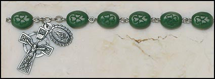 Shamrock Our Lady of Knock Irish Rosary Bracelet - Emerald Isle collection