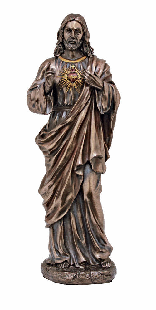 Sacred Heart of Jesus Statue Bronze Style Finish Veronese Collection