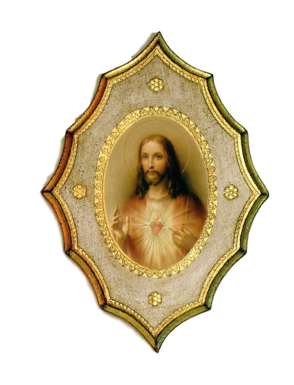 Sacred Heart Of Jesus Florentine Icon Plaque Hand Made  Italy