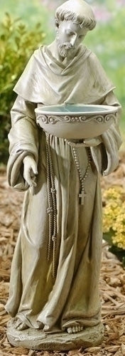 Saint Francis Solar Bird Bath Garden Statue  BACK IN STOCK