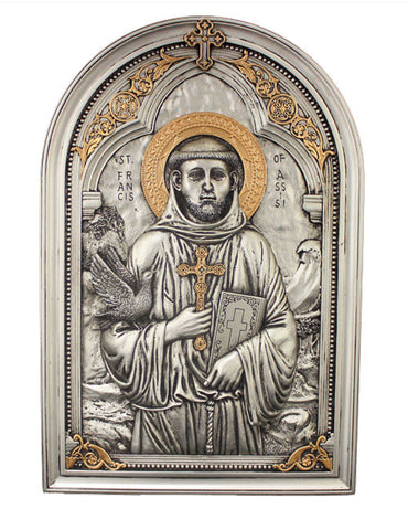 Saint Francis Pewter Style Icon Wall Plaque
