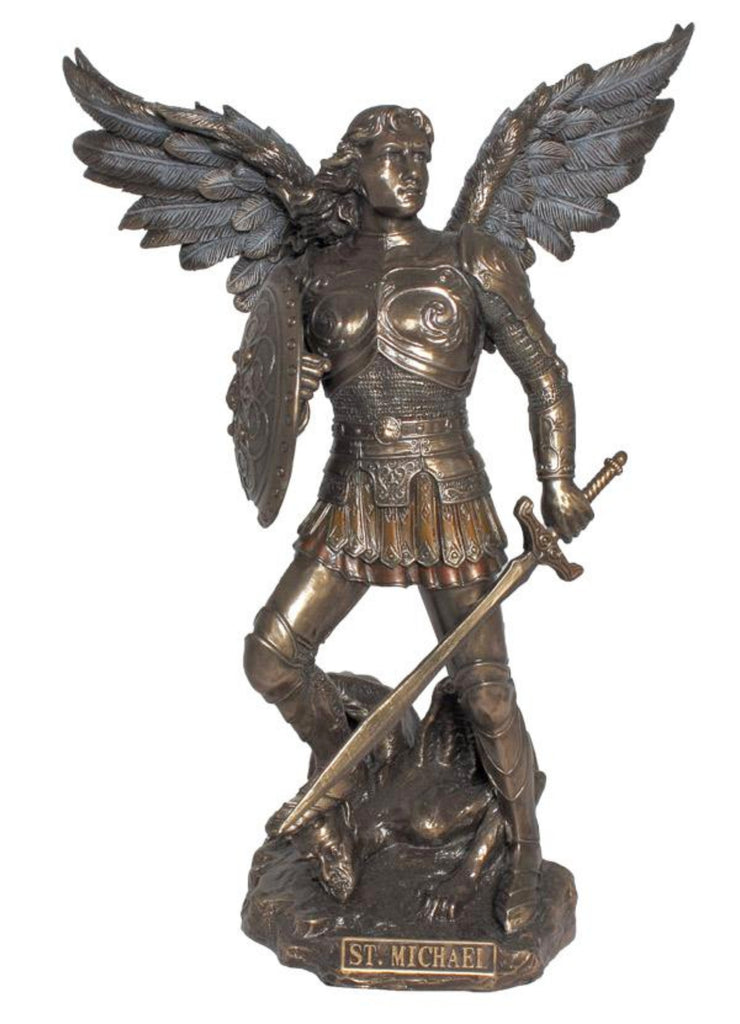 Saint Michael bronze statue with sword and shield