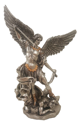 Saint Michael Statue Wirh Ornate Pewter with Gold Accents