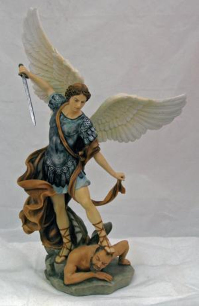 Saint Michael Archangel of Protection Hand Painted Statue