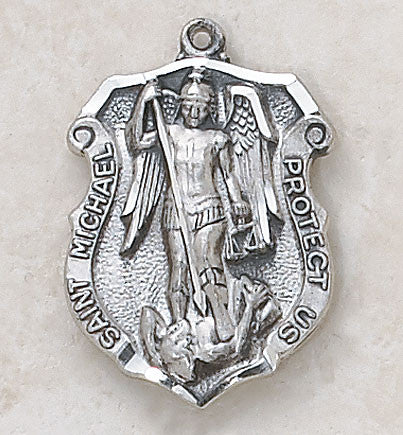 Saint Michael Shield of Protection Medal Sterling Silver