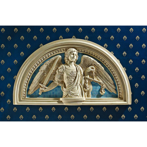 Saint Michael Archangel Lunette Wall Plaque As Inspired By Andrea della Robbia