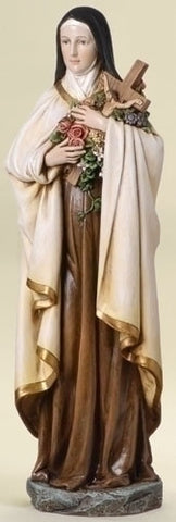 "Saint Theresa Holding Cross With Flowers Statue 14"" Tall Renaissance Collection"