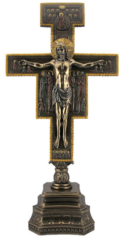 "San Damiano Standing Crucifix For Home Or Chapel Large Size 22"" Tall"