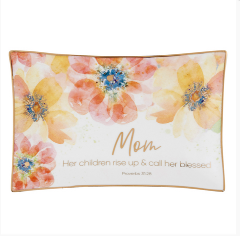 Mom Floral Ceramic Trinket Tray