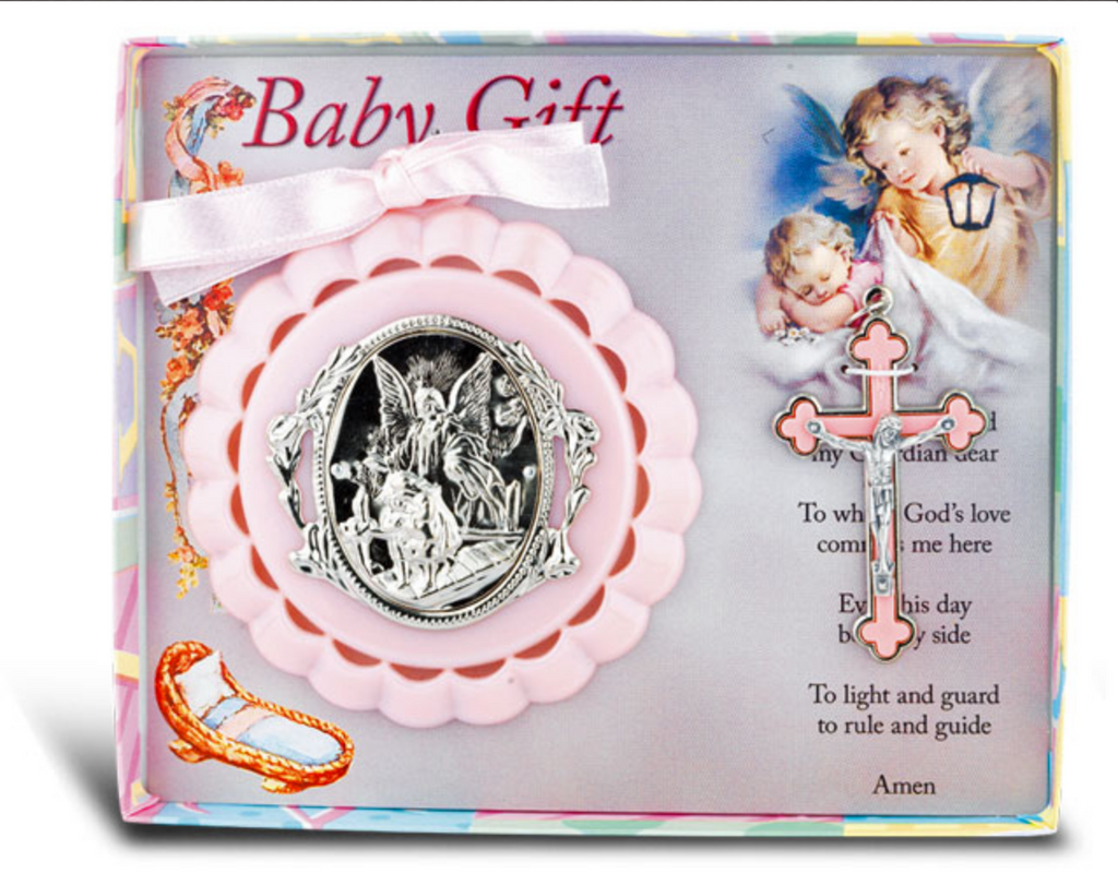 "Guardian Angel Crib Medal with 3"" Baby Crucifix"