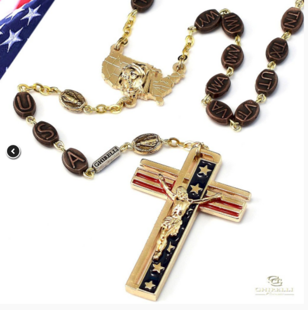The USA Rosary In Gold Finish Patriotic  By Ghirelli