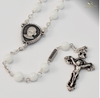 Saint Jacinta Marto Silver Plated Rosary With White Beads By Ghirelli