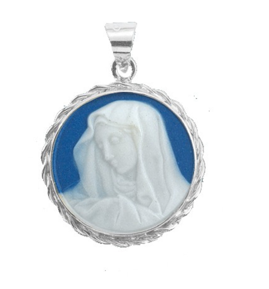 Sterling Silver Dark Blue Madonna Our Lady Of Sorrows Capodimonte Porcelain Made In Italy
