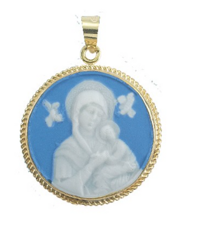 Our Lady Of Perpetual Help Light Blue white Capodimonte porcelain Cameo Italy