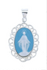 Ornate Light Blue Sterling Cameo Style Miraculous Medal Capodimonte Porcelain Made In Italy