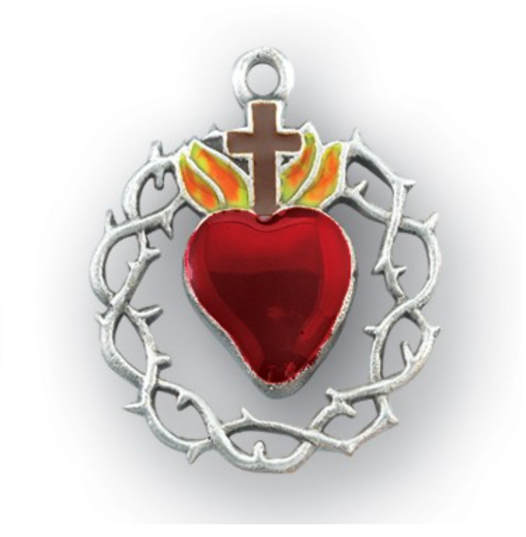 Sacred heart Of Jesus with Crown of thorns medal