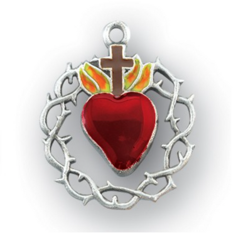 Sacred Heart Of Jesus With Crown of Thorns Sterling Silver Medal