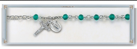 Sterling Silver Rosary Bracelet Emerald Round Faceted Crystal Beads