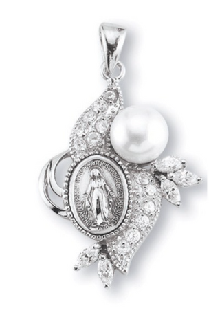 Miraculous Medal with 12 Stars Cubic Set Zircons Sterling Silver