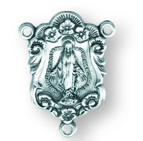 Our Lady of the Miraculous Medals Sterling Silver Rosary Centerpiece