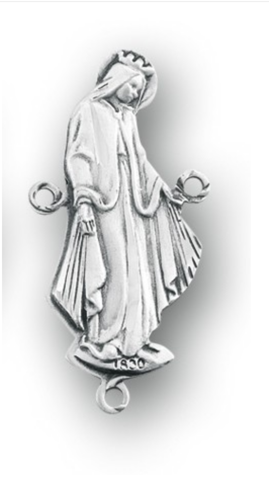 Our Lady of Grace sterling silver rosary centerpiece