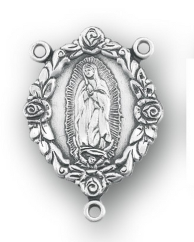 Our Lady of Guadalupe Sterling Silver Rosary Centerpiece