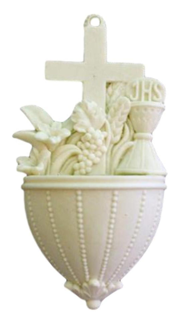 Communion Font With Lilies And Chalice In White Alabaster
