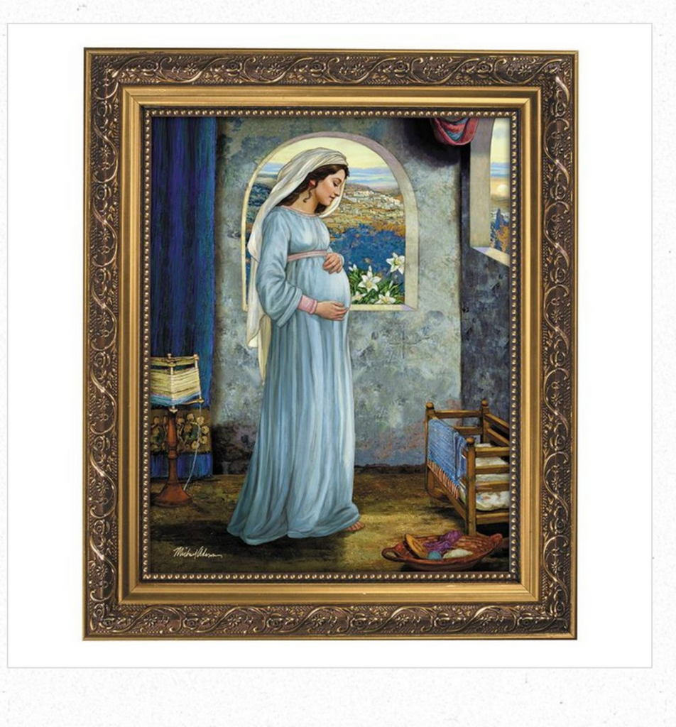 Mary Mother Of God Print In Ornate Gold Frame By Artist Michael Adams