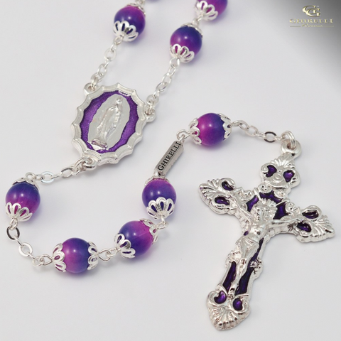 Our Lady Of Lourdes Bohemian Glass Silver Plated Rosary By Ghirelli