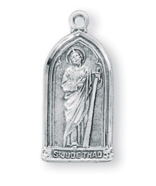 saint Jude sterling silver medal on chain