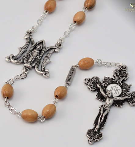 Annunciation Rosary With Wooden Rosary Beads By Ghirelli