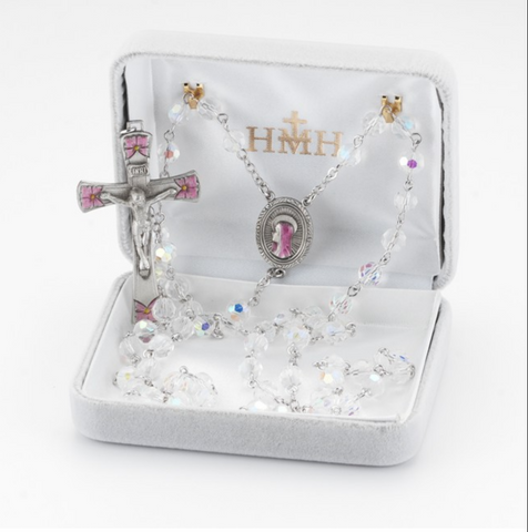 Madonna Crystal & Pink Floral Rosary