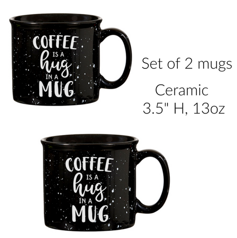 Coffee Is A Hug In A Mug Rustic Ceramic Mugs Set of Two