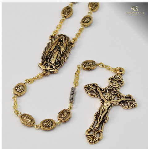 Our Lady of Guadalupe Castilian Rose Bud Gold Plated Rosary By Ghirelli