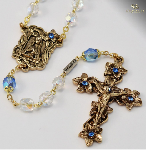 Our Lady of Lourdes Gold Plated Rosary Bohemian Faceted Beads By Ghirelli