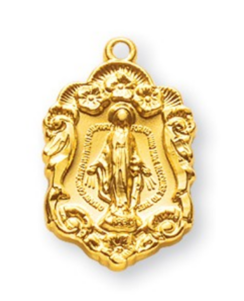 Gold over sterling silver Miraculous medal pendant