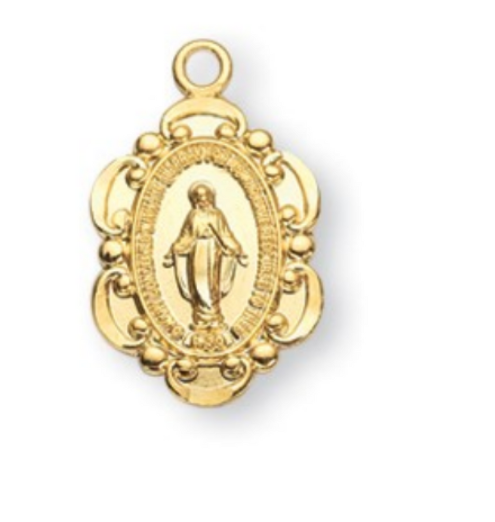 Gold Over Sterling Silver Oval Miraculous Medal