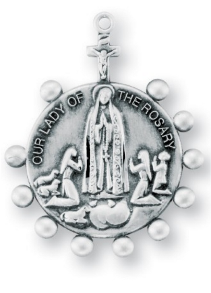 Our Lady of the Rosary Round Sterling Silver Medal on chain