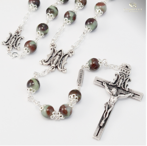 Annunciation silver plated Rosary With Glass Beads by Ghirelli