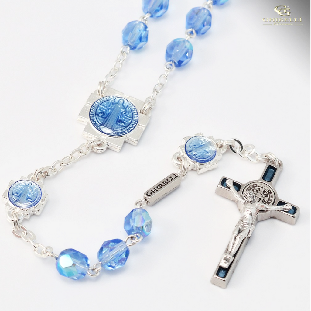 Siver plated saint Benedict rosary with blue glass beads