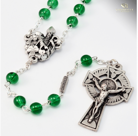 Saint Patrick Silver Plated Irish Rosary By Ghirelli